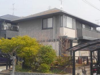 屋根外壁塗装施工前、全景【ベストホーム|岡山】