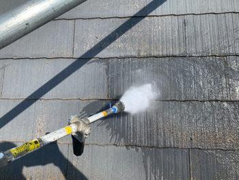 屋根外壁塗装、施工中 高圧洗浄【ベストホーム|岡山】