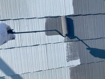屋根外壁塗装、施工中 屋根中塗り【ベストホーム|岡山】